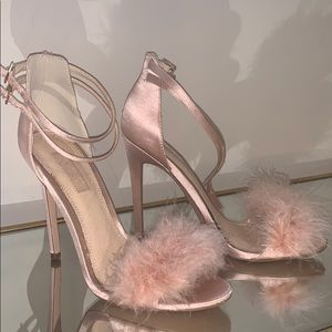 Topshop pink satin and feather heel heels